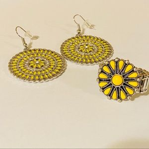 Round Yellow Flower Earring and Yellow Ring Set